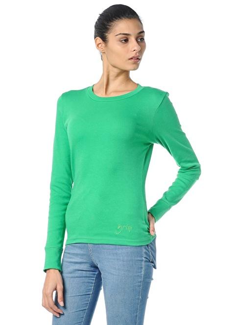 Grip Bisiklet Yaka Sweatshirt Yeşil